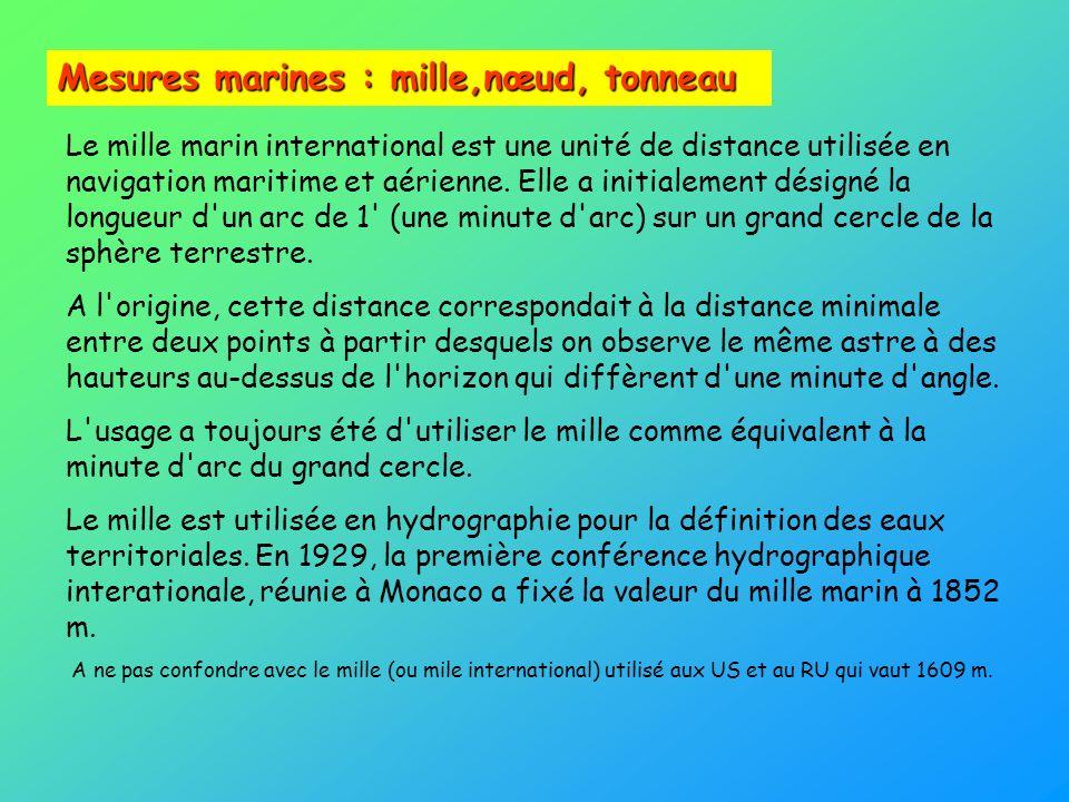 Mesures marines : mille,nœud, tonneau