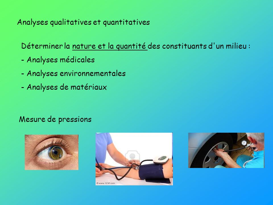 Analyses qualitatives et quantitatives