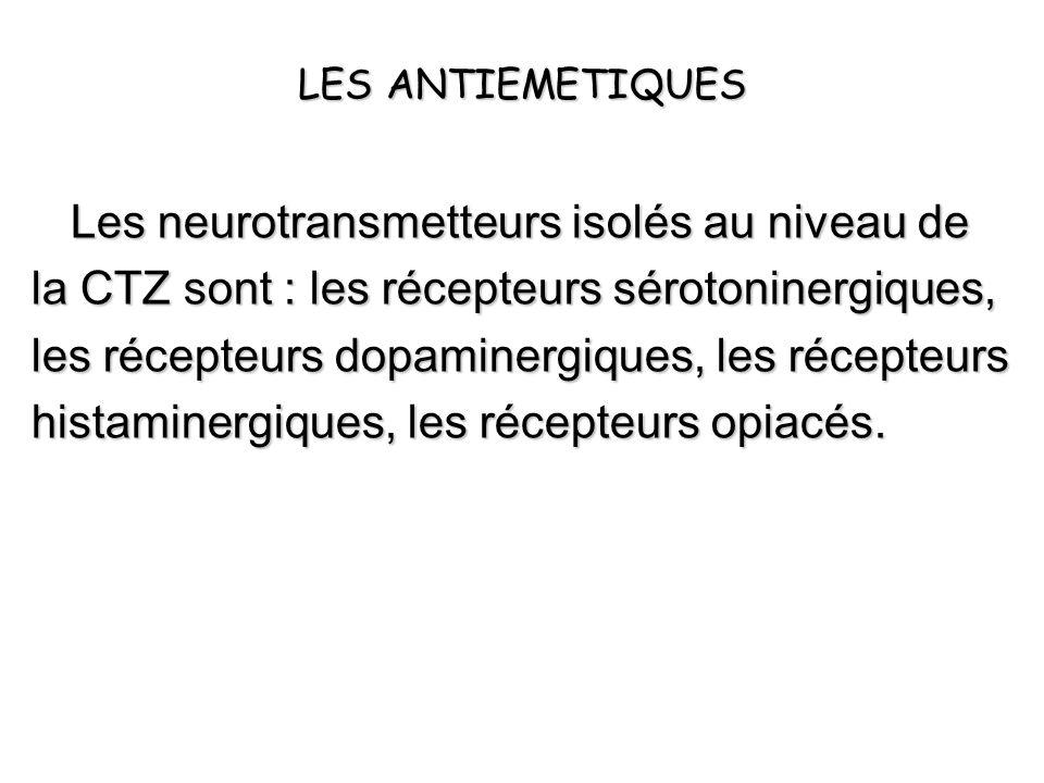 Les neurotransmetteurs isolés au niveau de