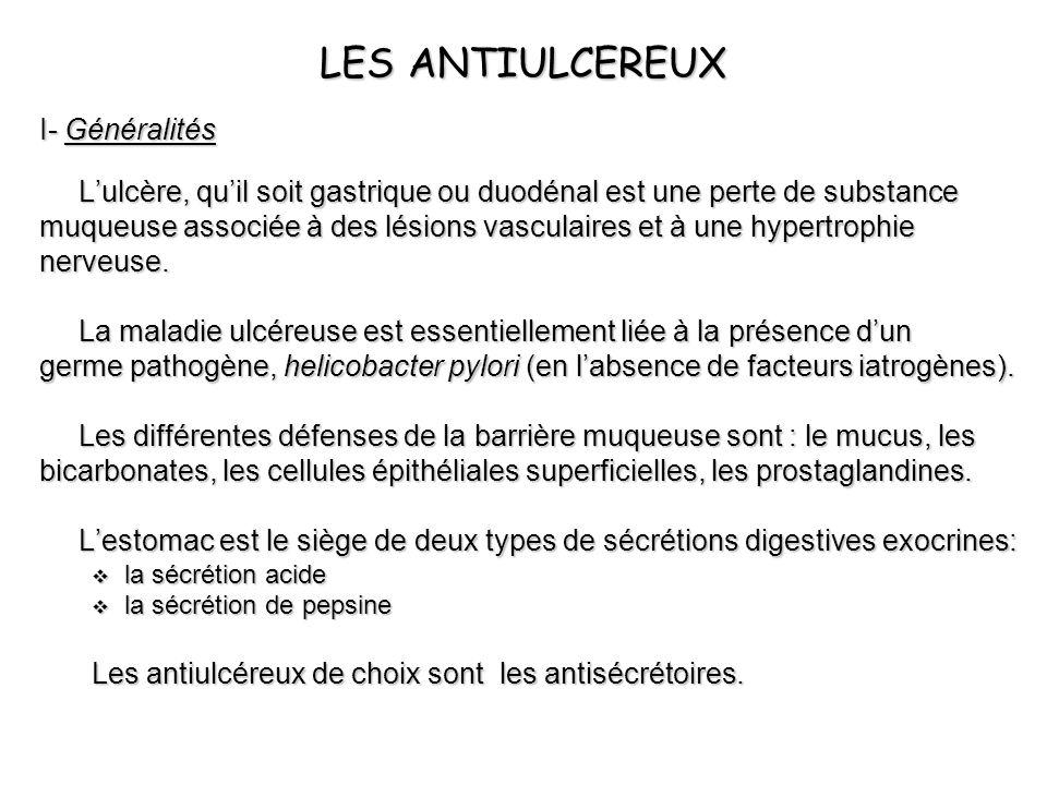 LES ANTIULCEREUX I- Généralités