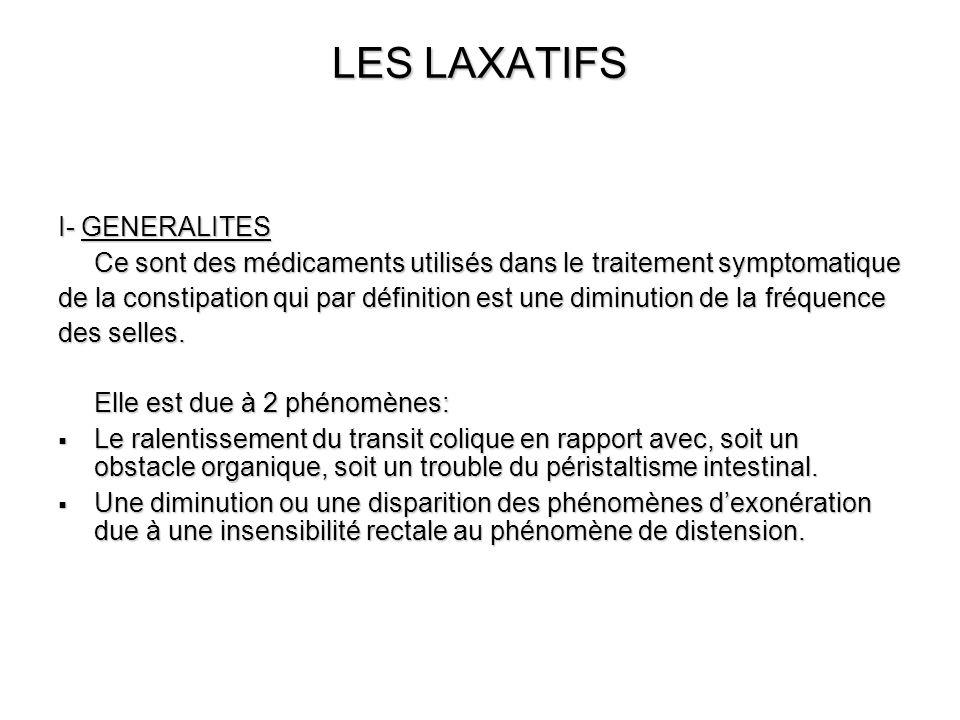 LES LAXATIFS I- GENERALITES