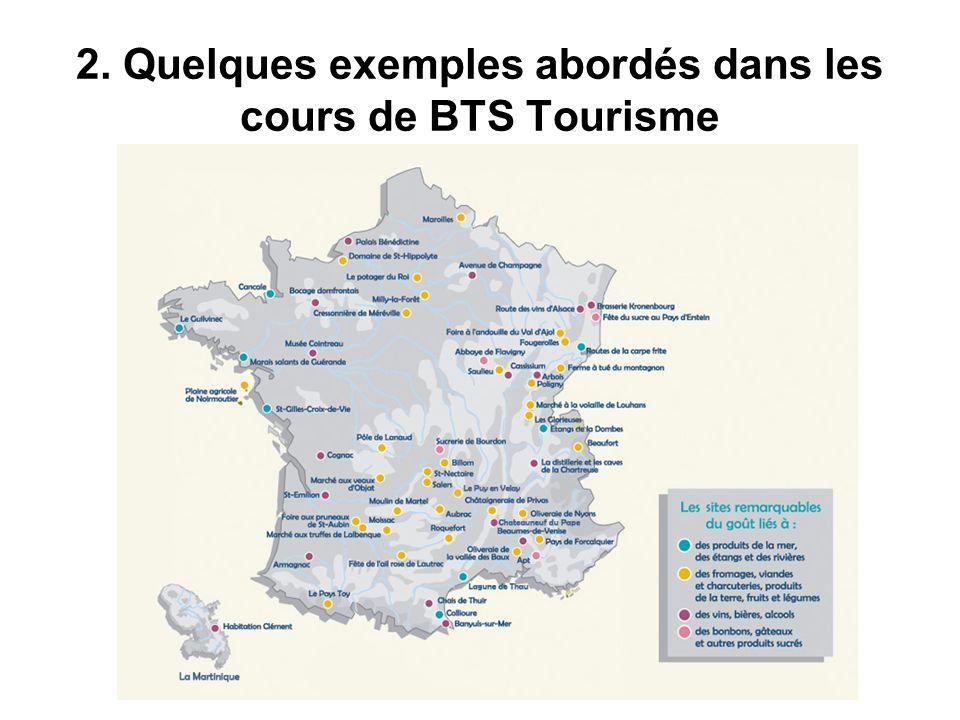 2. Quelques exemples abordés dans les cours de BTS Tourisme