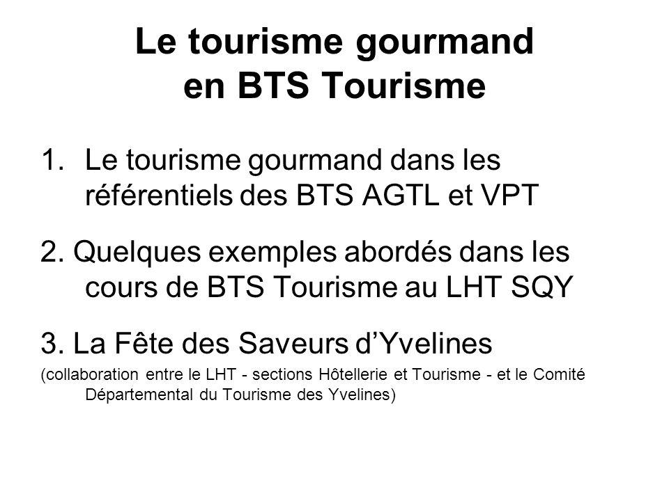 Le tourisme gourmand en BTS Tourisme