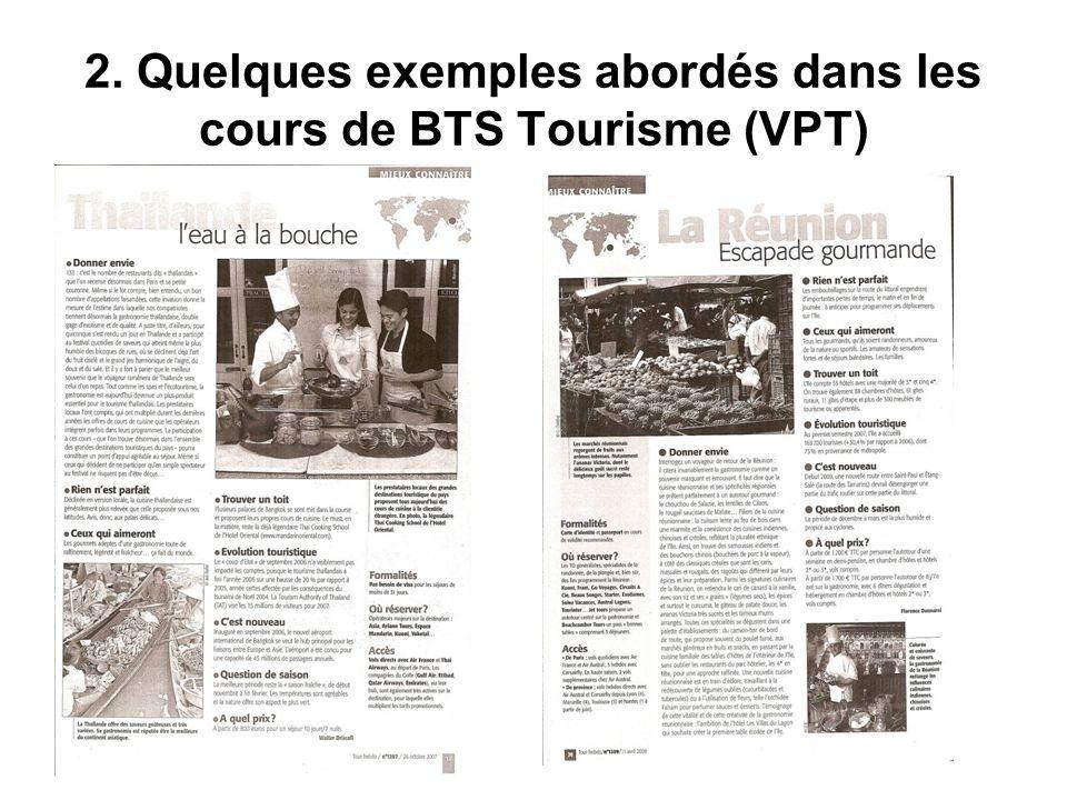 2. Quelques exemples abordés dans les cours de BTS Tourisme (VPT)