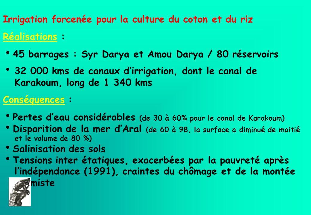 Irrigation forcenée pour la culture du coton et du riz