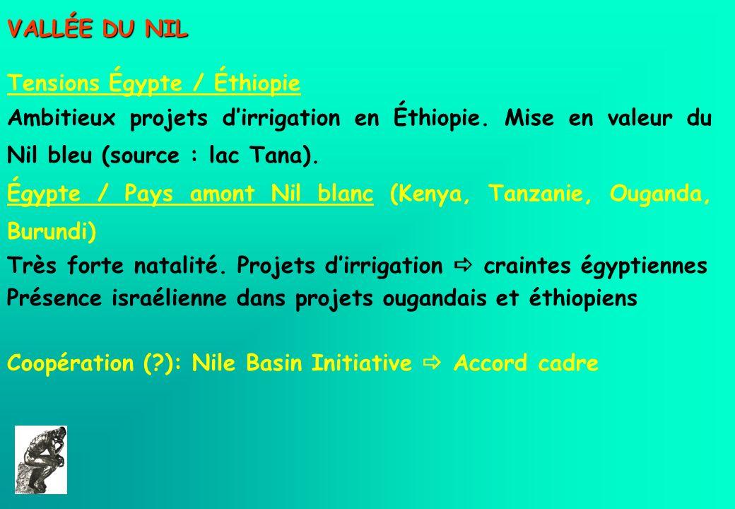 VALLÉE DU NILTensions Égypte / Éthiopie. Ambitieux projets d'irrigation en Éthiopie. Mise en valeur du Nil bleu (source : lac Tana).