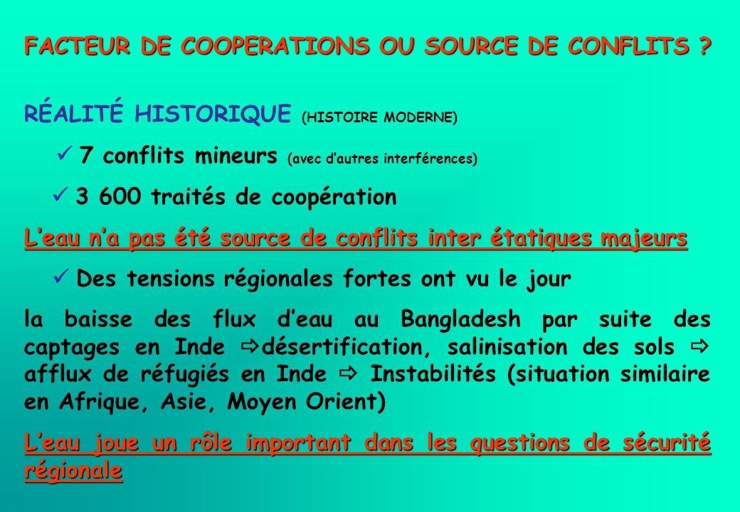 FACTEUR DE COOPERATIONS OU SOURCE DE CONFLITS