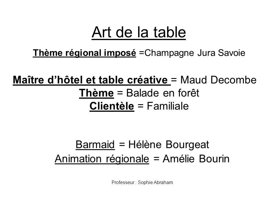 Art de la table Thème régional imposé =Champagne Jura Savoie