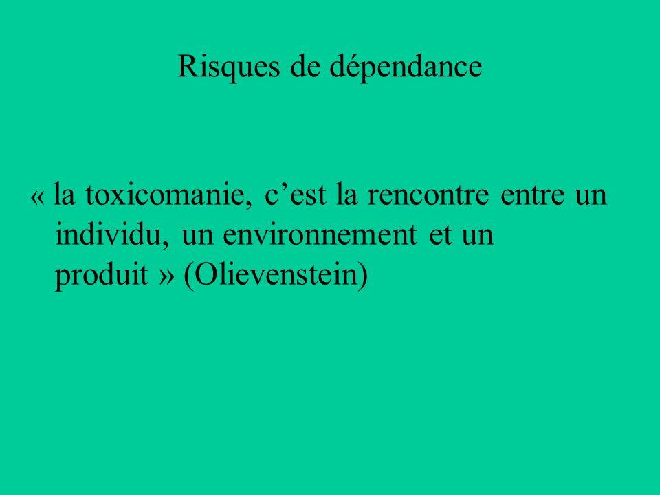 Risques de dépendance « la toxicomanie, c'est la rencontre entre un individu, un environnement et un produit » (Olievenstein)