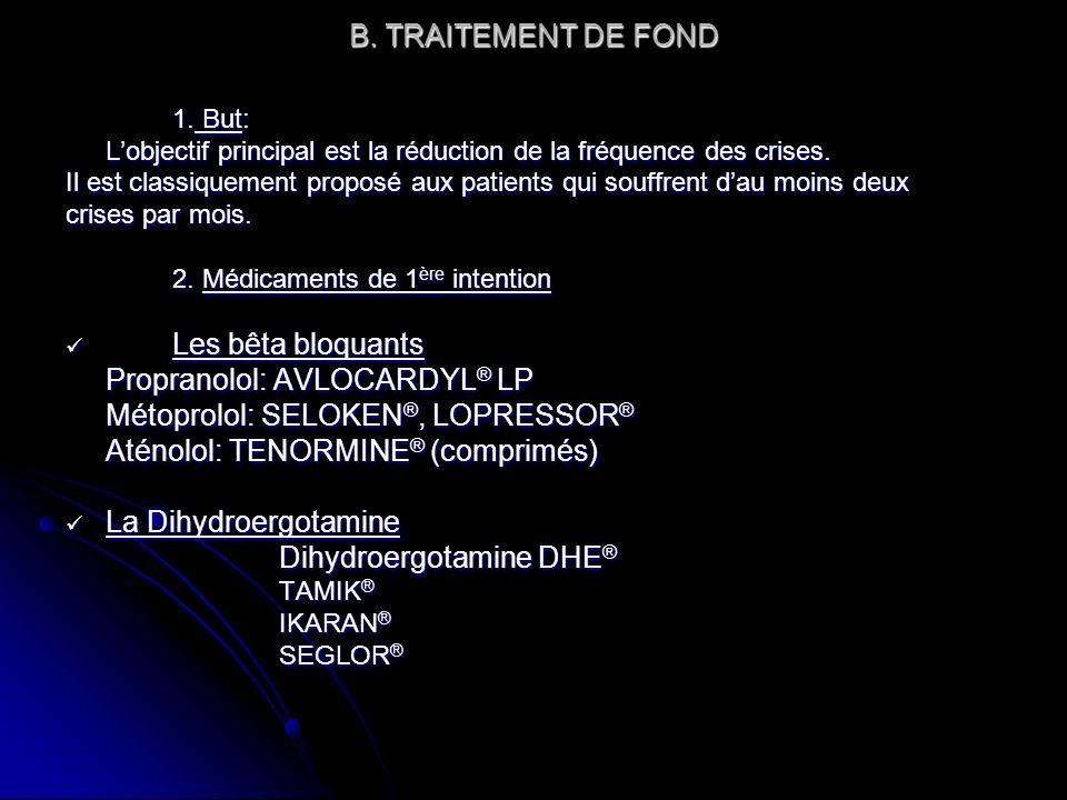 Propranolol: AVLOCARDYL® LP Métoprolol: SELOKEN®, LOPRESSOR®