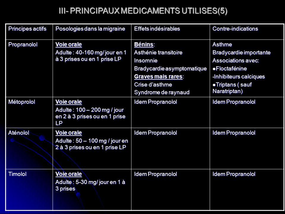 III- PRINCIPAUX MEDICAMENTS UTILISES(5)