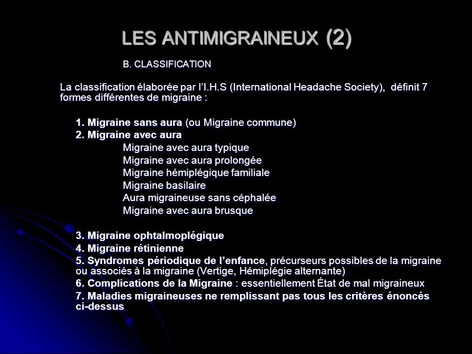 LES ANTIMIGRAINEUX (2) 1. Migraine sans aura (ou Migraine commune)