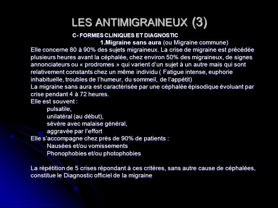 LES ANTIMIGRAINEUX (3)C- FORMES CLINIQUES ET DIAGNOSTIC. 1.Migraine sans aura (ou Migraine commune)