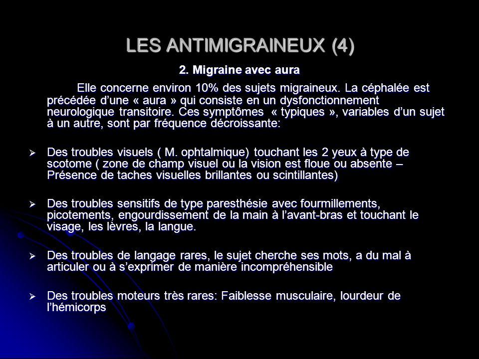 LES ANTIMIGRAINEUX (4)2. Migraine avec aura.