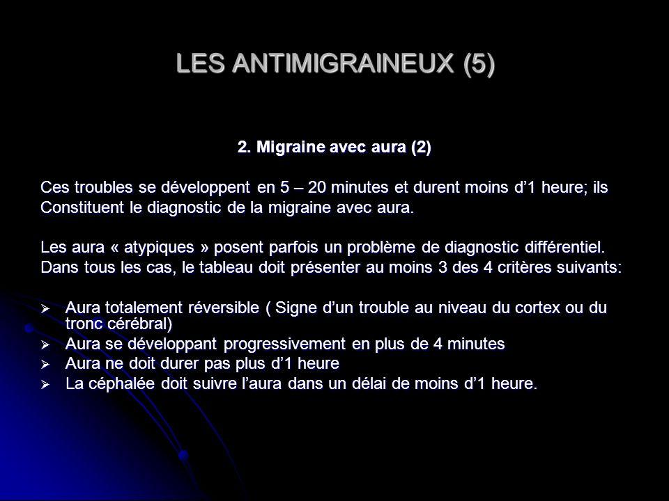 LES ANTIMIGRAINEUX (5) 2. Migraine avec aura (2)