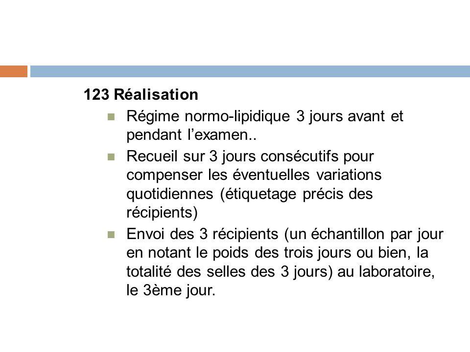 123 Réalisation Régime normo-lipidique 3 jours avant et pendant l'examen..
