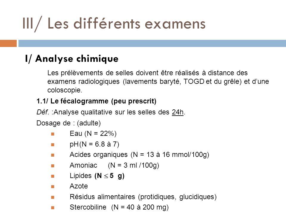 III/ Les différents examens
