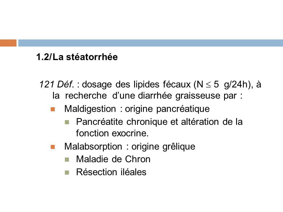1.2/ La stéatorrhée 121 Déf. : dosage des lipides fécaux (N  5 g/24h), à la recherche d'une diarrhée graisseuse par :