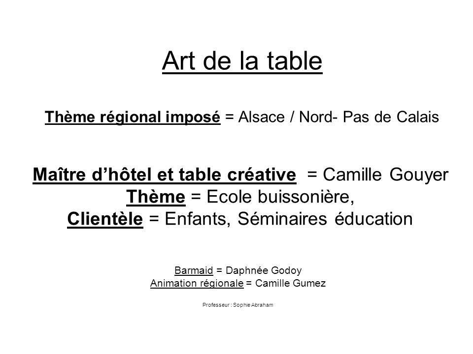 Art de la table Thème régional imposé = Alsace / Nord- Pas de Calais