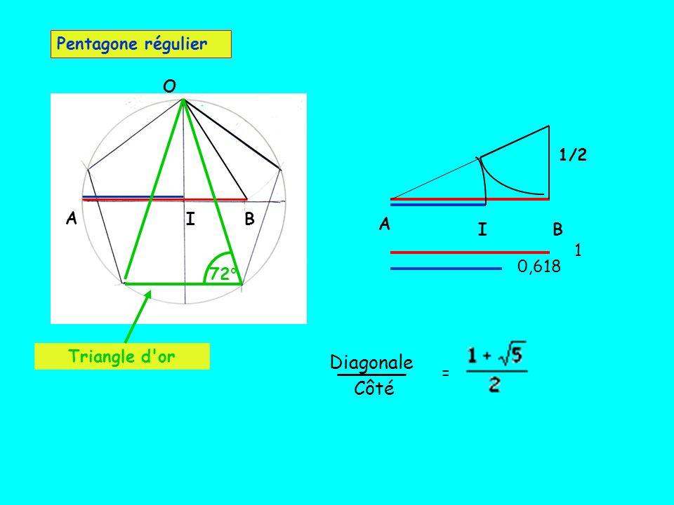 Diagonale Côté Pentagone régulier O 1/2 A I B A I B 1 0,618 72°