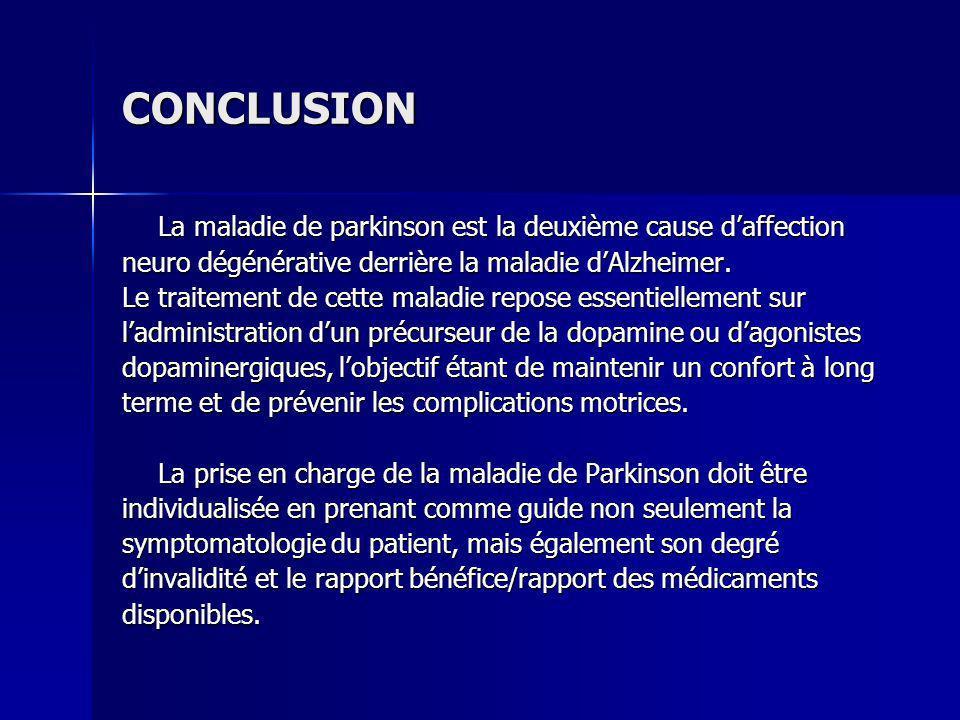CONCLUSION La maladie de parkinson est la deuxième cause d'affection