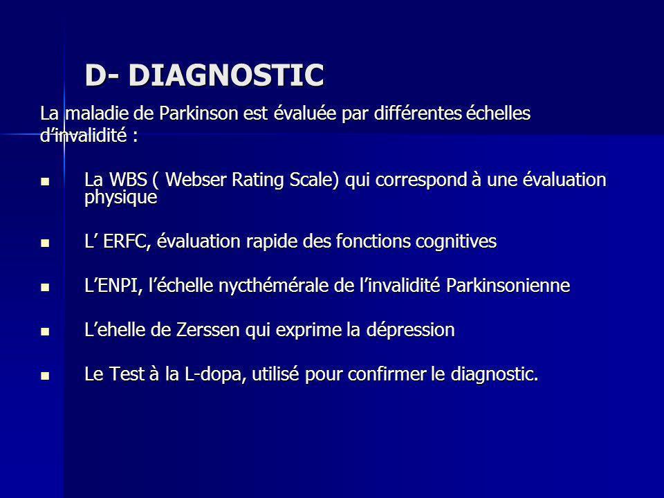 D- DIAGNOSTICLa maladie de Parkinson est évaluée par différentes échelles. d'invalidité :