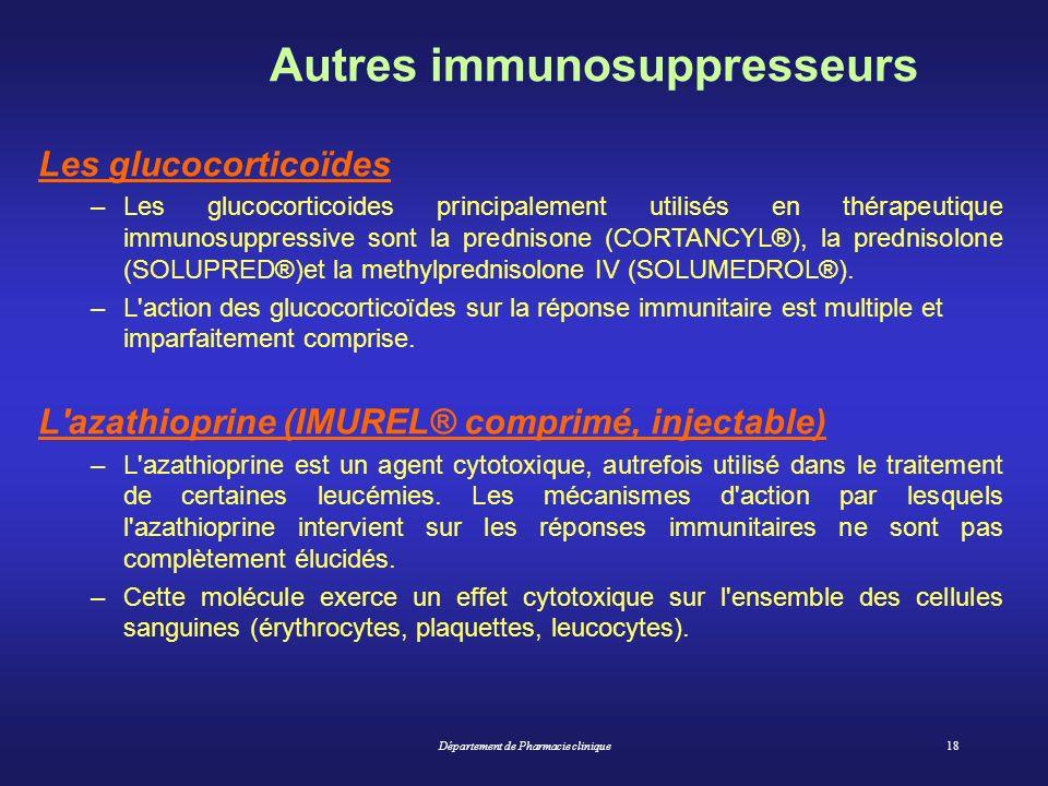 Autres immunosuppresseurs