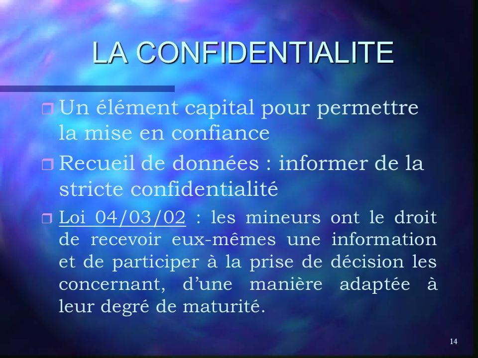 LA CONFIDENTIALITE Un élément capital pour permettre la mise en confiance. Recueil de données : informer de la stricte confidentialité.