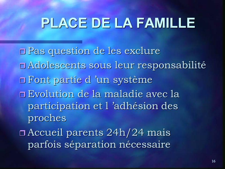 PLACE DE LA FAMILLE Pas question de les exclure