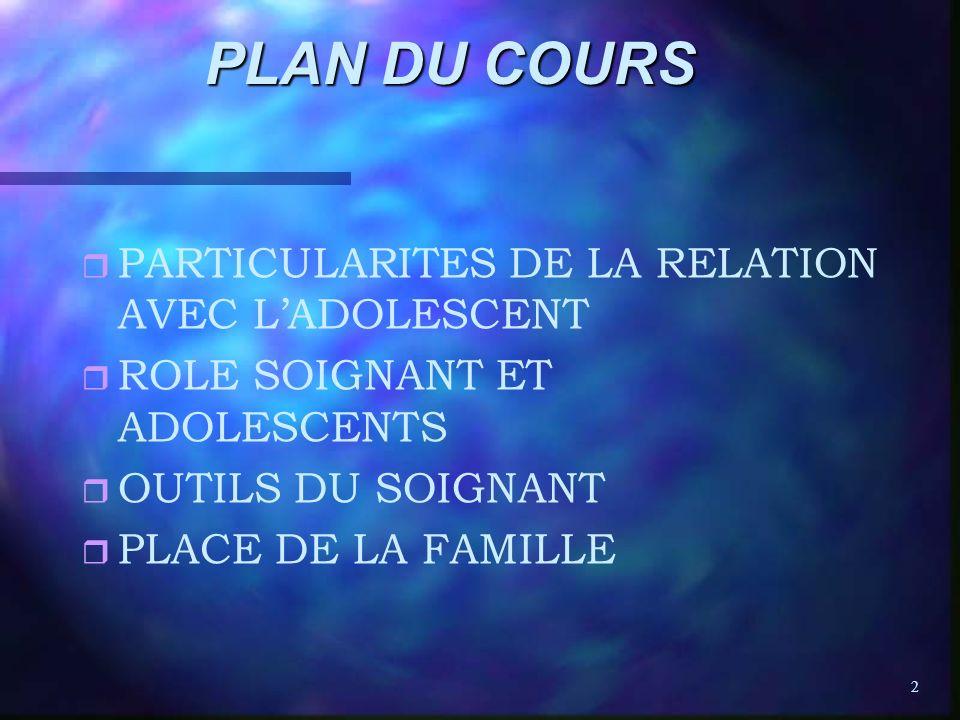 PLAN DU COURS PARTICULARITES DE LA RELATION AVEC L'ADOLESCENT