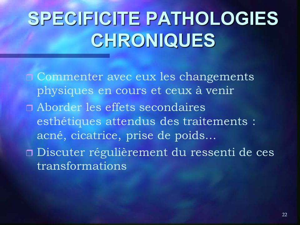 SPECIFICITE PATHOLOGIES CHRONIQUES