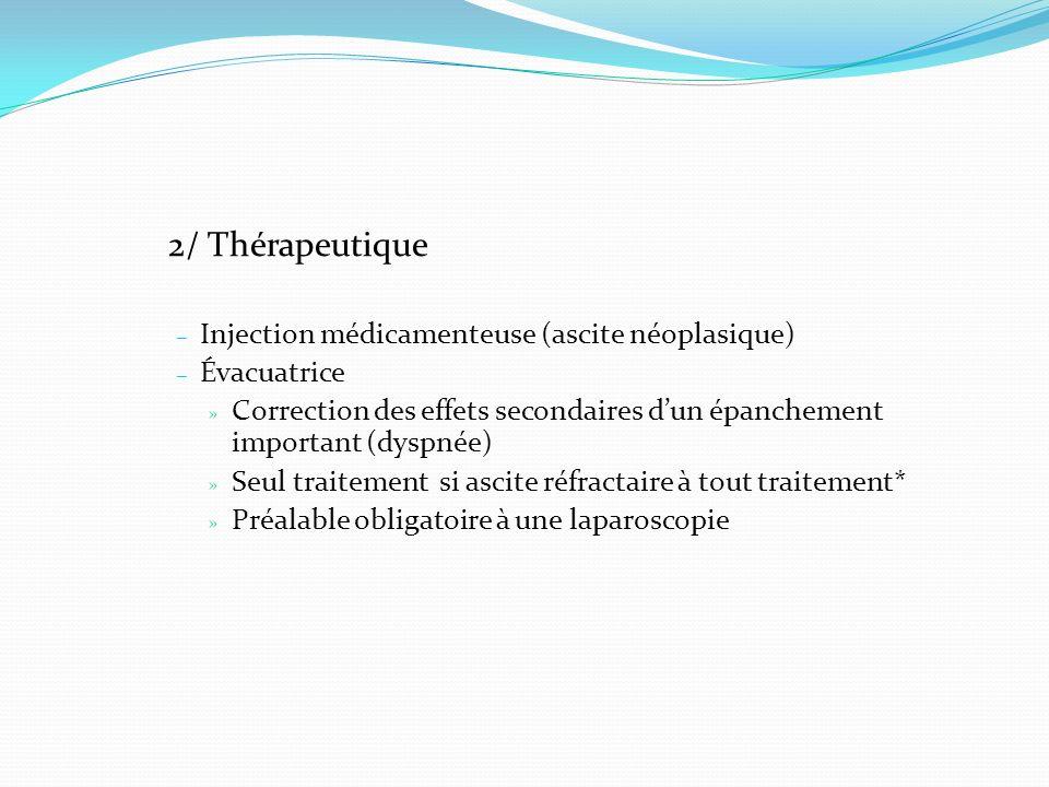 2/ Thérapeutique Injection médicamenteuse (ascite néoplasique)
