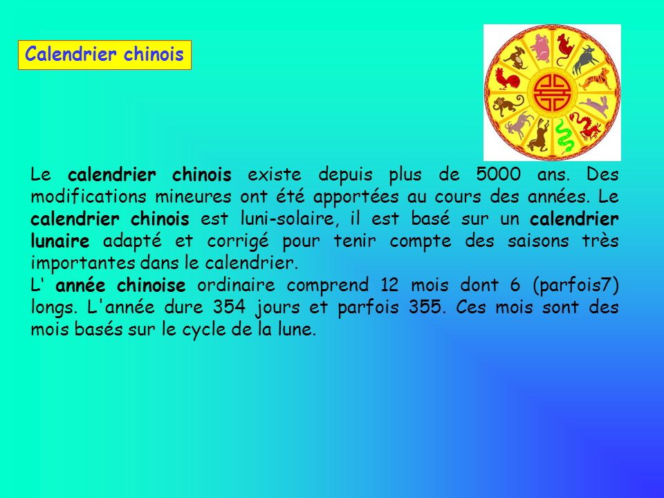 Calendrier chinois