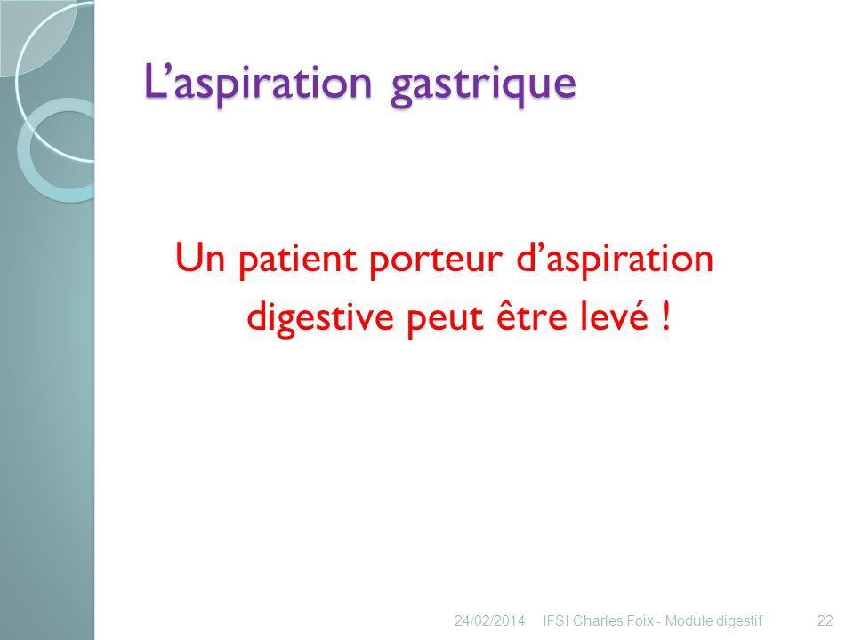 L'aspiration gastrique