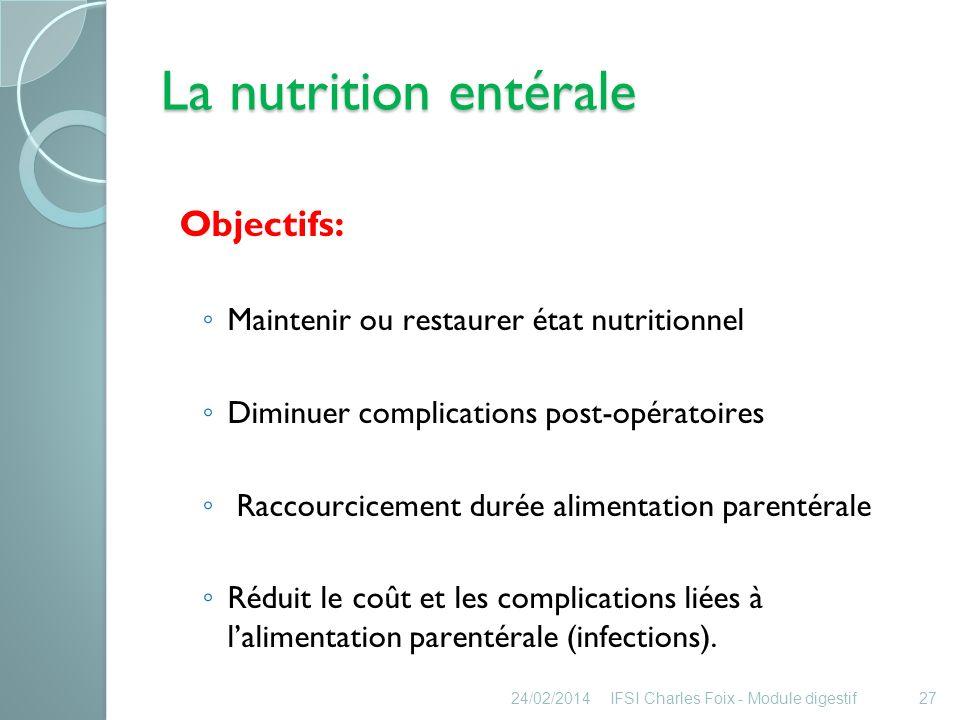 La nutrition entérale Objectifs: