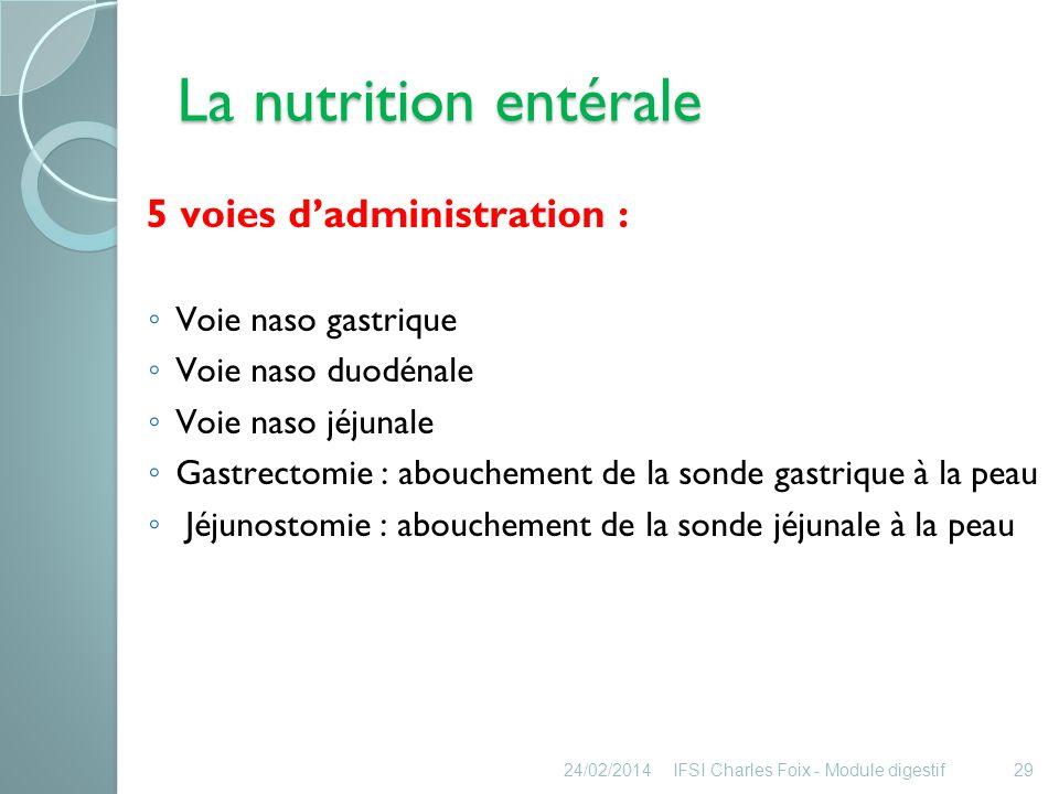 La nutrition entérale 5 voies d'administration : Voie naso gastrique