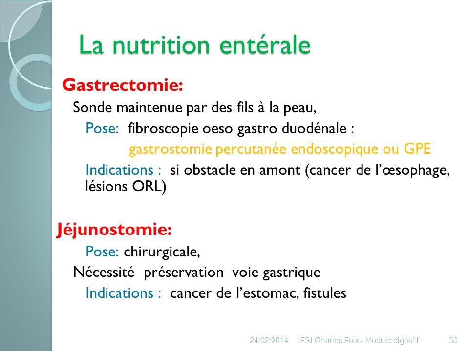 La nutrition entérale Gastrectomie: Jéjunostomie: