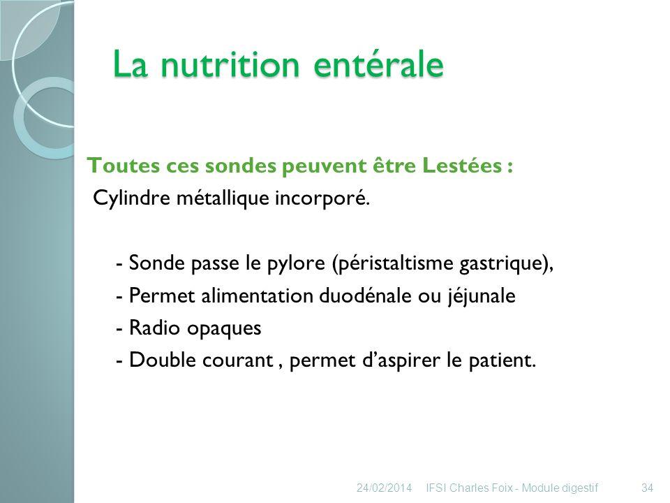 La nutrition entérale