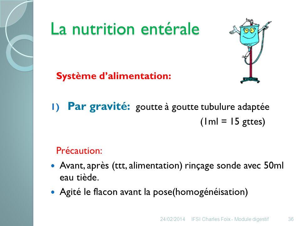 La nutrition entérale Par gravité: goutte à goutte tubulure adaptée