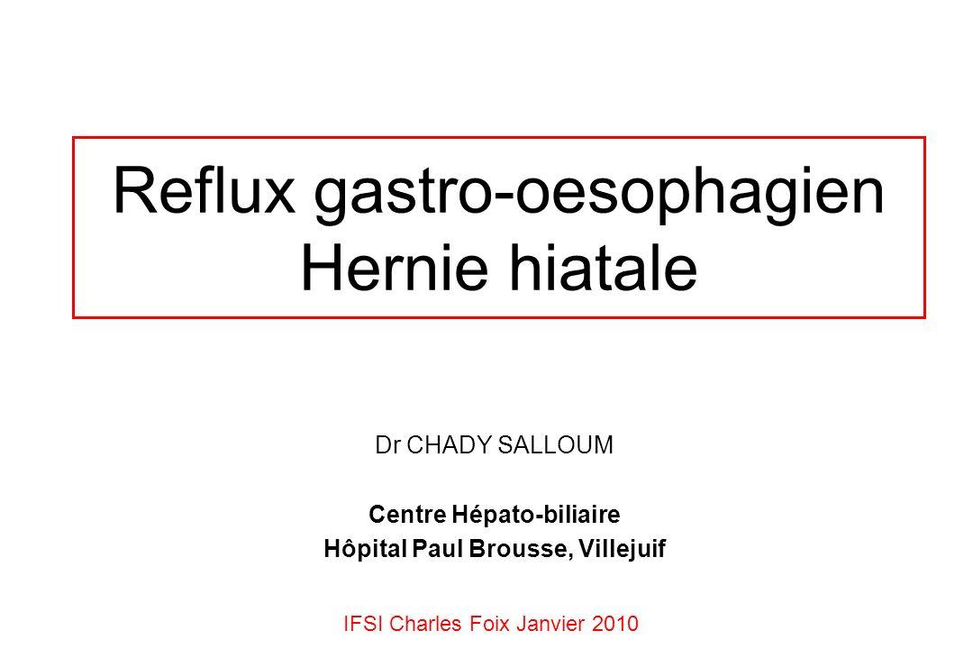 Reflux gastro-oesophagien Hernie hiatale