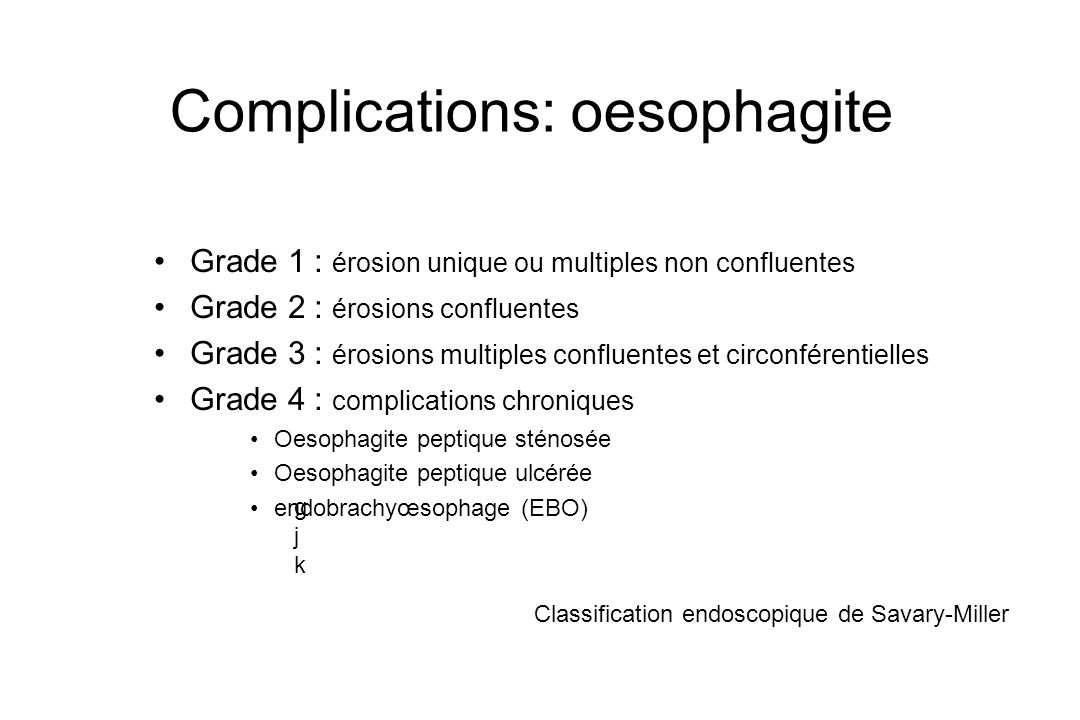 Complications: oesophagite
