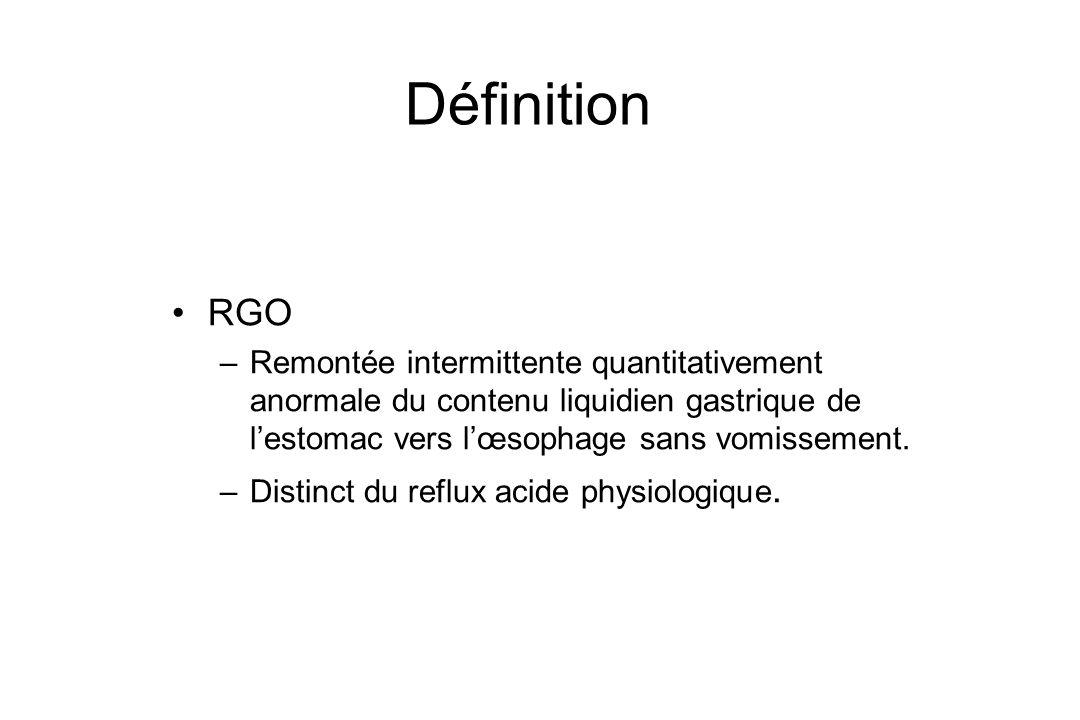 Définition RGO. Remontée intermittente quantitativement anormale du contenu liquidien gastrique de l'estomac vers l'œsophage sans vomissement.