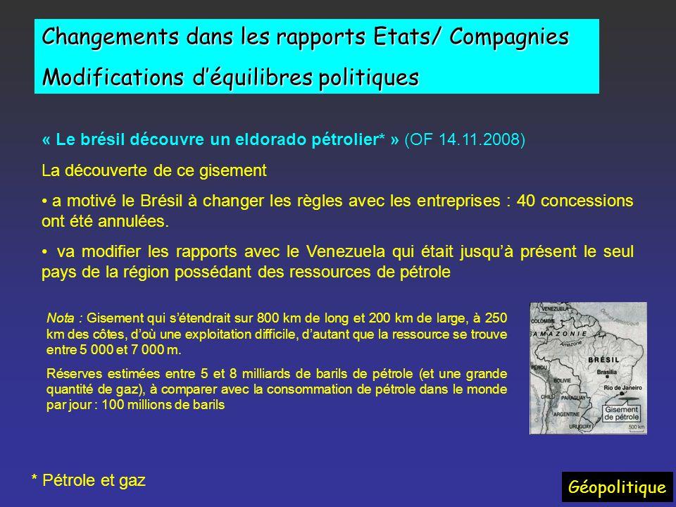 Changements dans les rapports Etats/ Compagnies