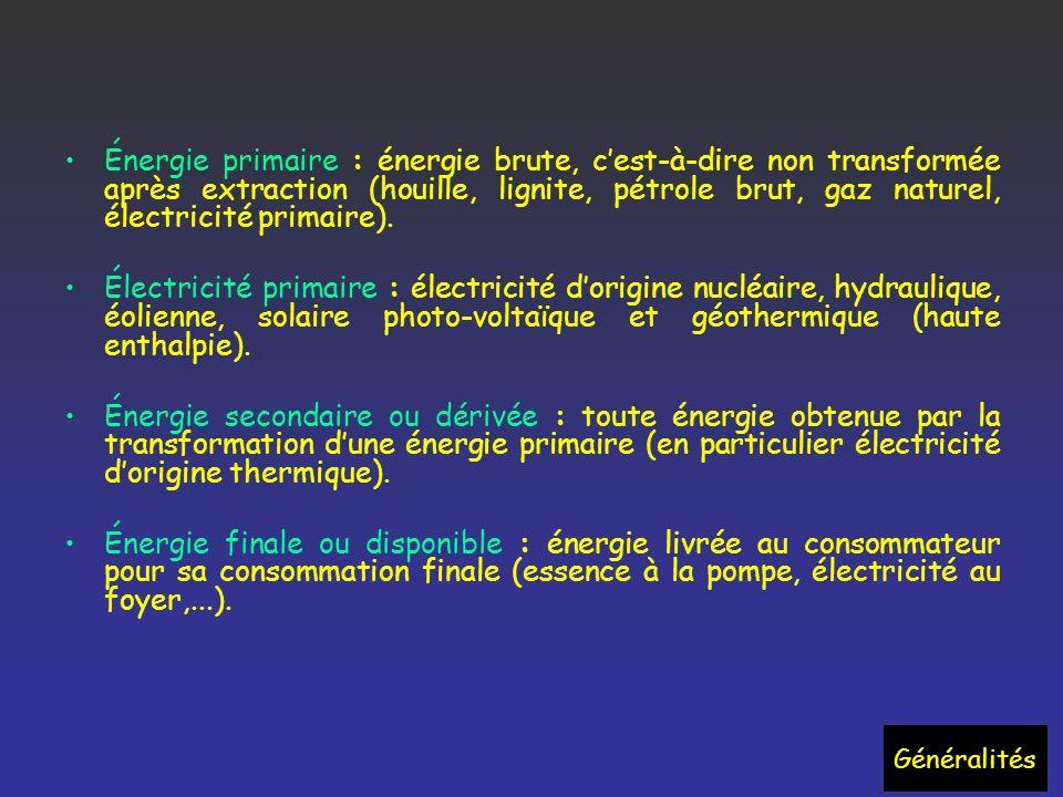 Énergie primaire : énergie brute, c'est-à-dire non transformée après extraction (houille, lignite, pétrole brut, gaz naturel, électricité primaire).