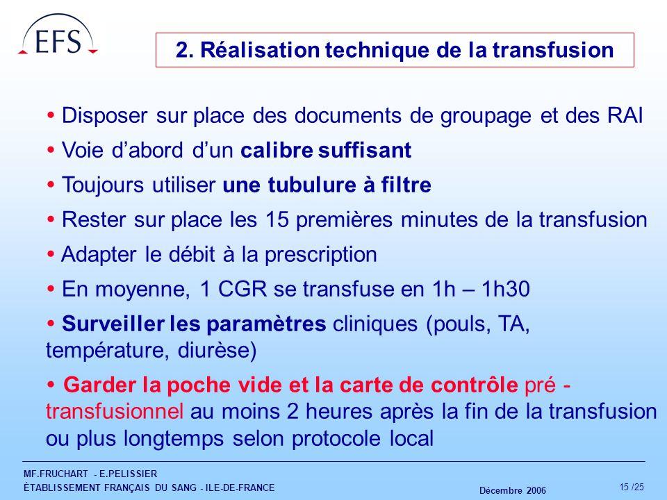 2. Réalisation technique de la transfusion