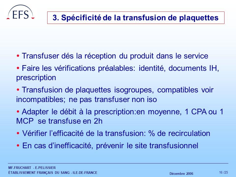 3. Spécificité de la transfusion de plaquettes