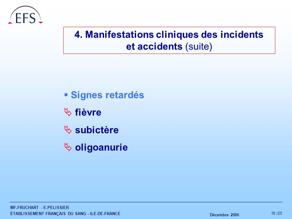 4. Manifestations cliniques des incidents
