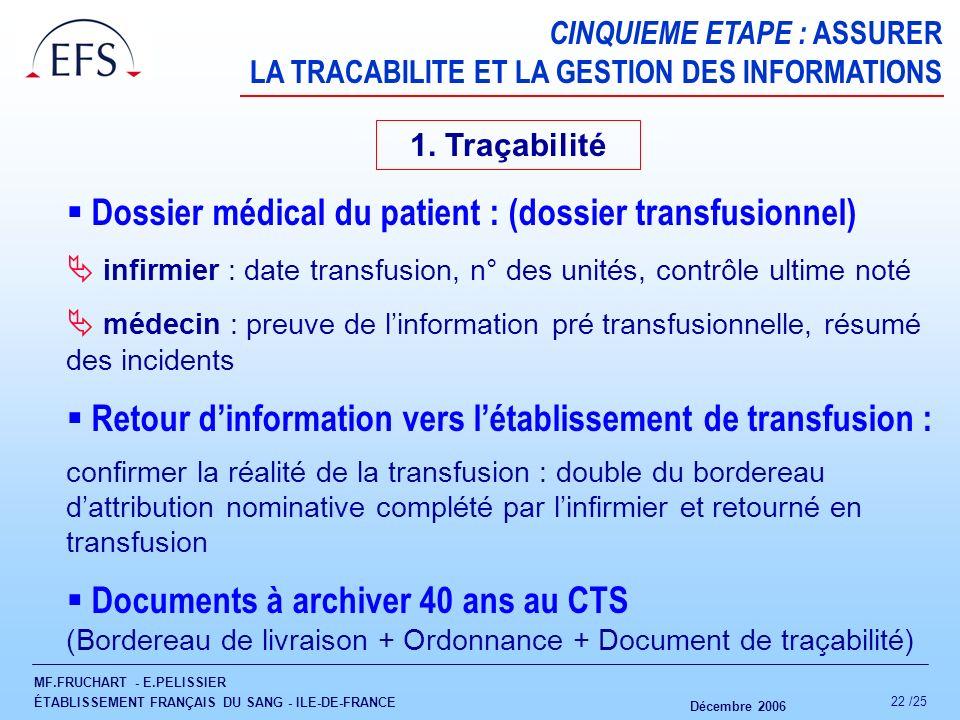  Dossier médical du patient : (dossier transfusionnel)