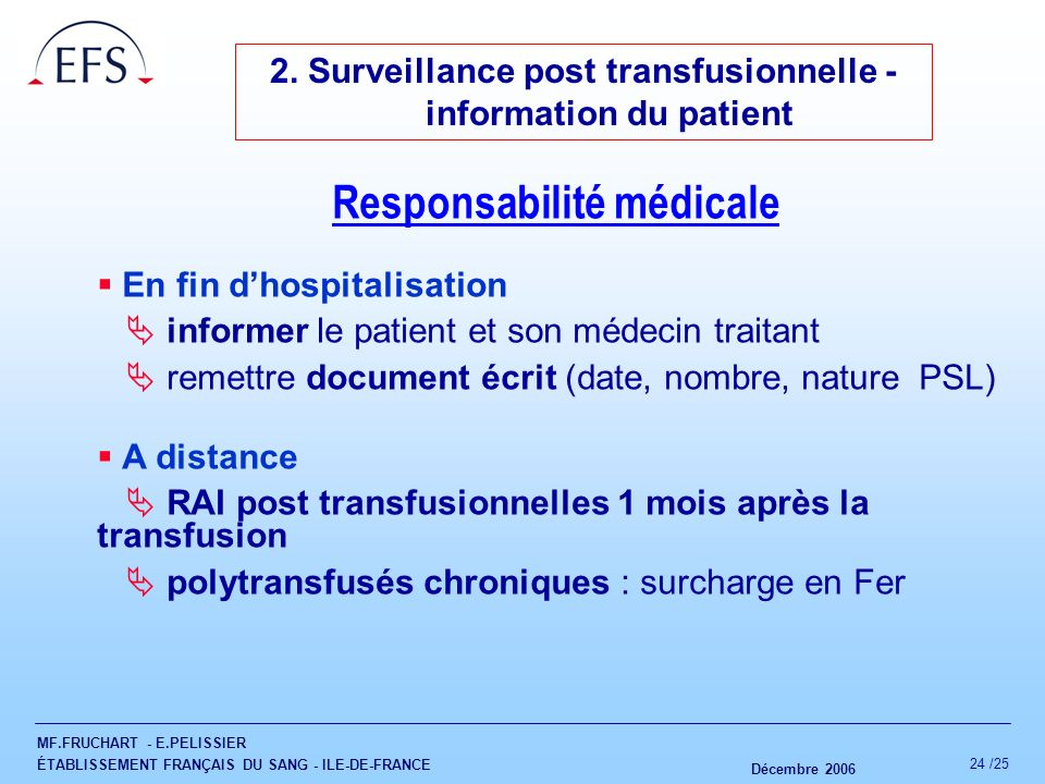 2. Surveillance post transfusionnelle - information du patient