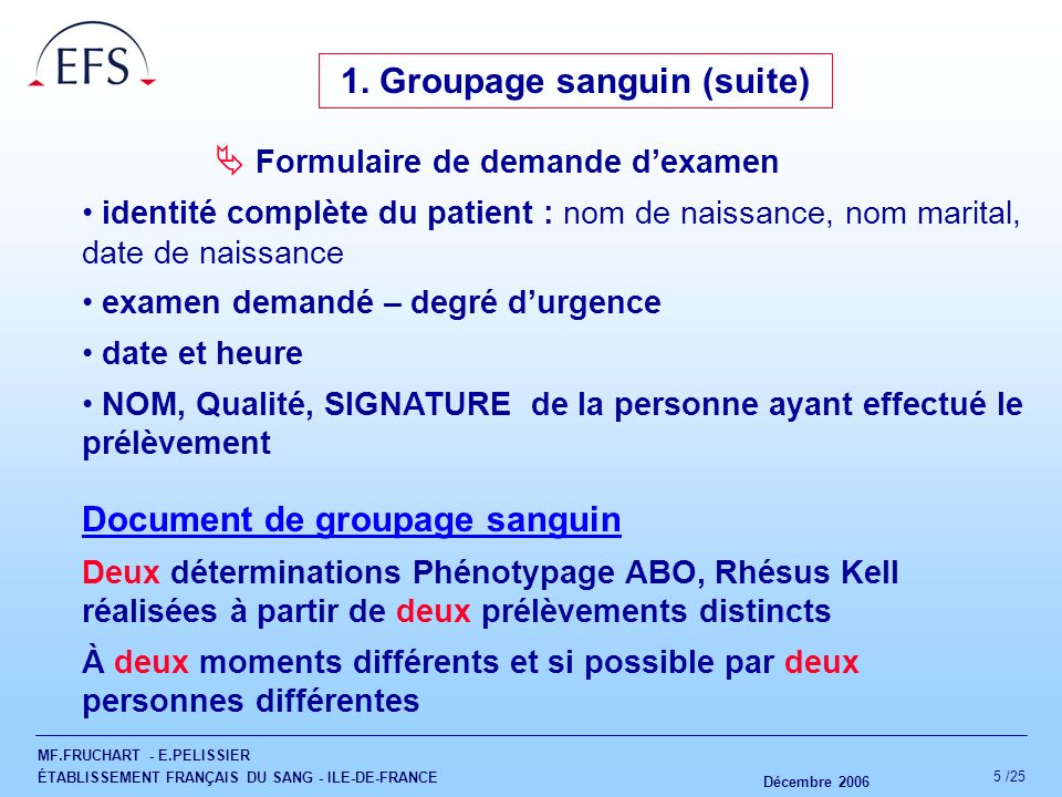 1. Groupage sanguin (suite)